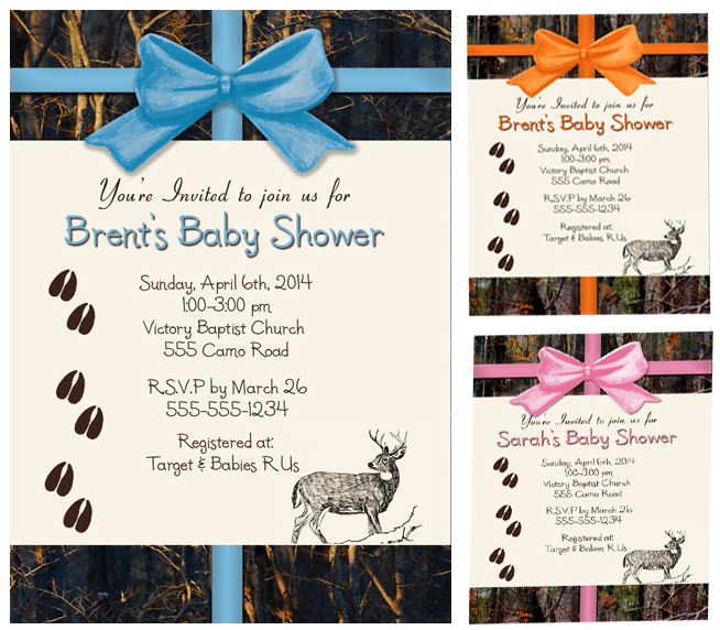 camo baby shower invitations