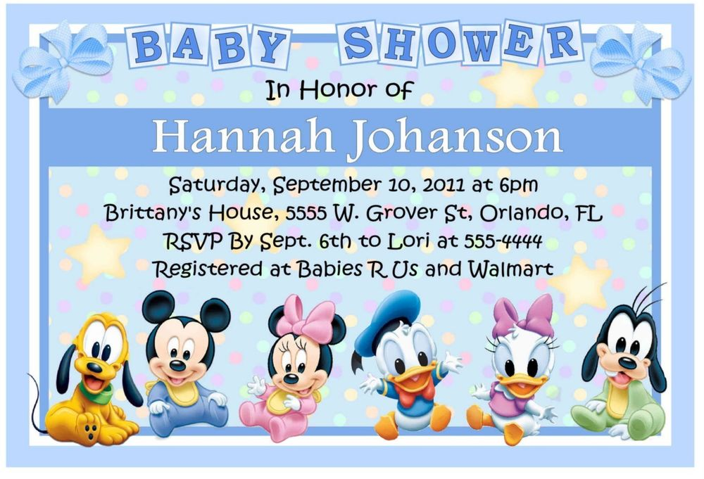 disney world baby shower invitations