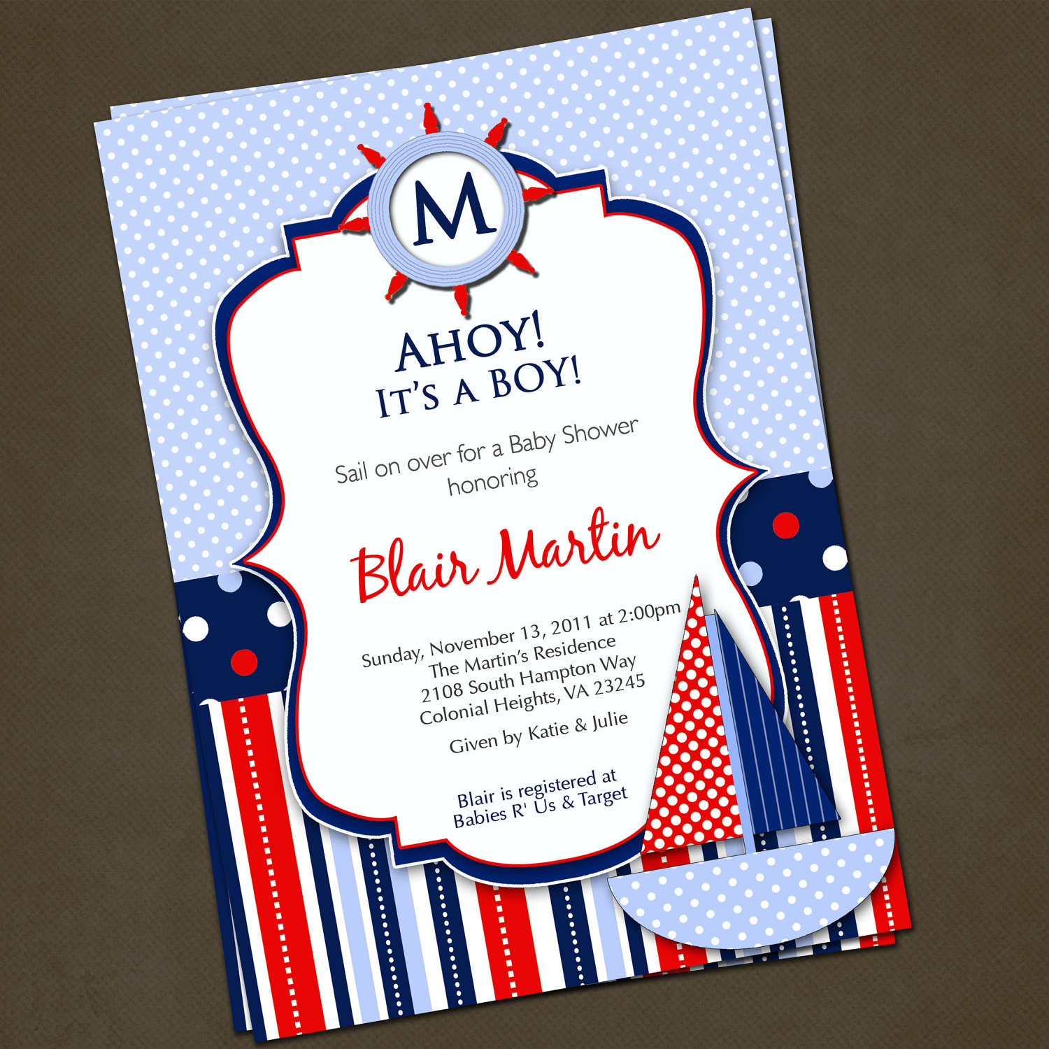 Nautical Baby Shower Invitations DolanPedia Invitations Template