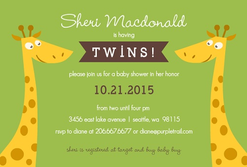 Twin baby shower invitations dolanpedia invitations template twin baby shower invitation giraffe filmwisefo
