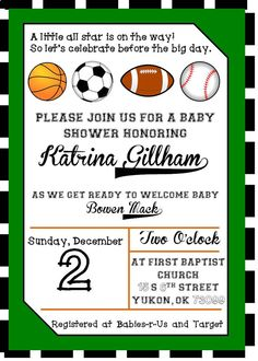 Free printable sports birthday invitations dolanpedia sports baby shower invitations 2 filmwisefo Image collections