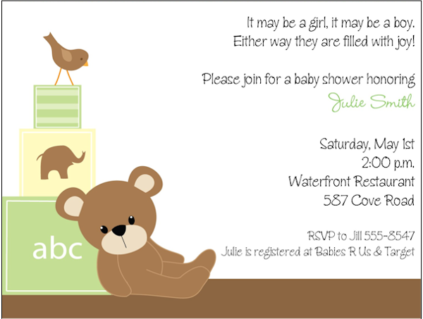 Teddy Bear Baby Shower Invitations DolanPedia Invitations Template