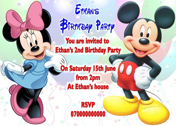 Minnie Mouse And Mickey Birthday Party Invitation