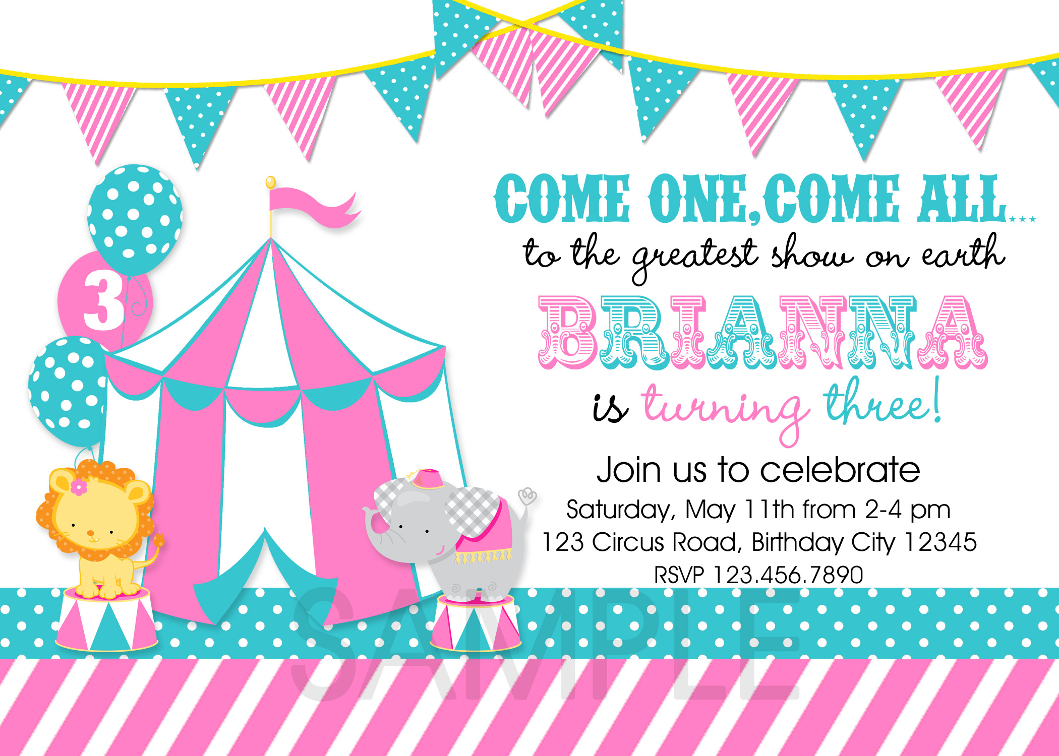 Circus Themed Birthday Party Invitations DolanPedia Invitations