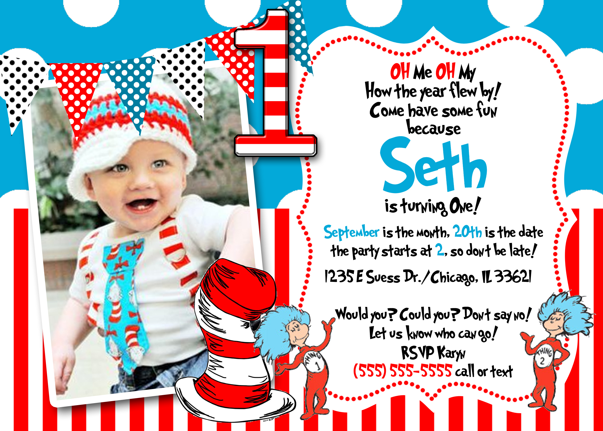 Dr Seuss 1 Birthday Invitation1