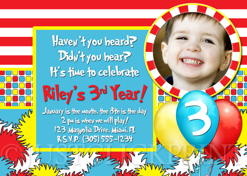 Dr Seuss First Birthday Invitations DolanPedia Invitations Template