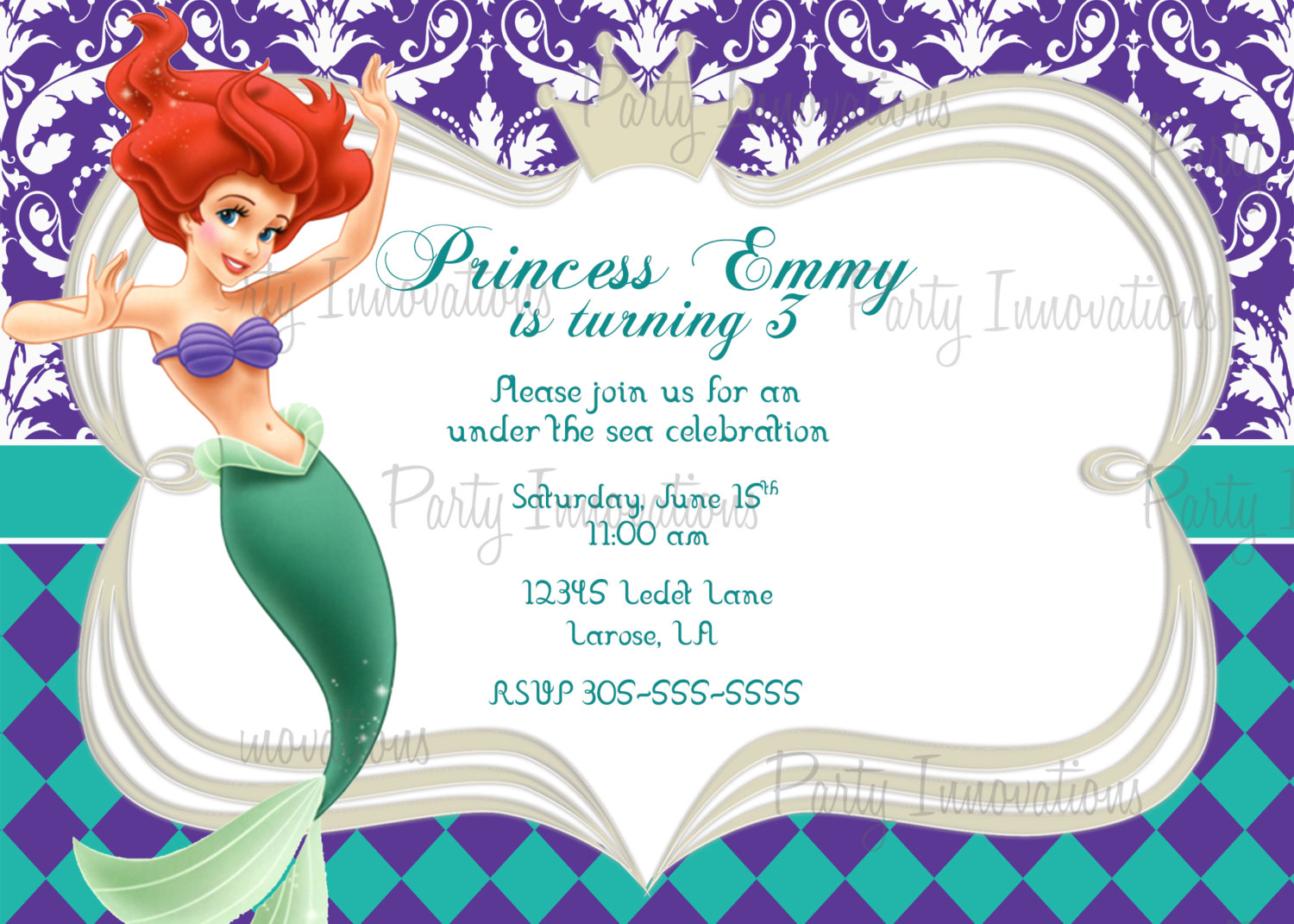 Favorite The Little Mermaid Birthday Invitations