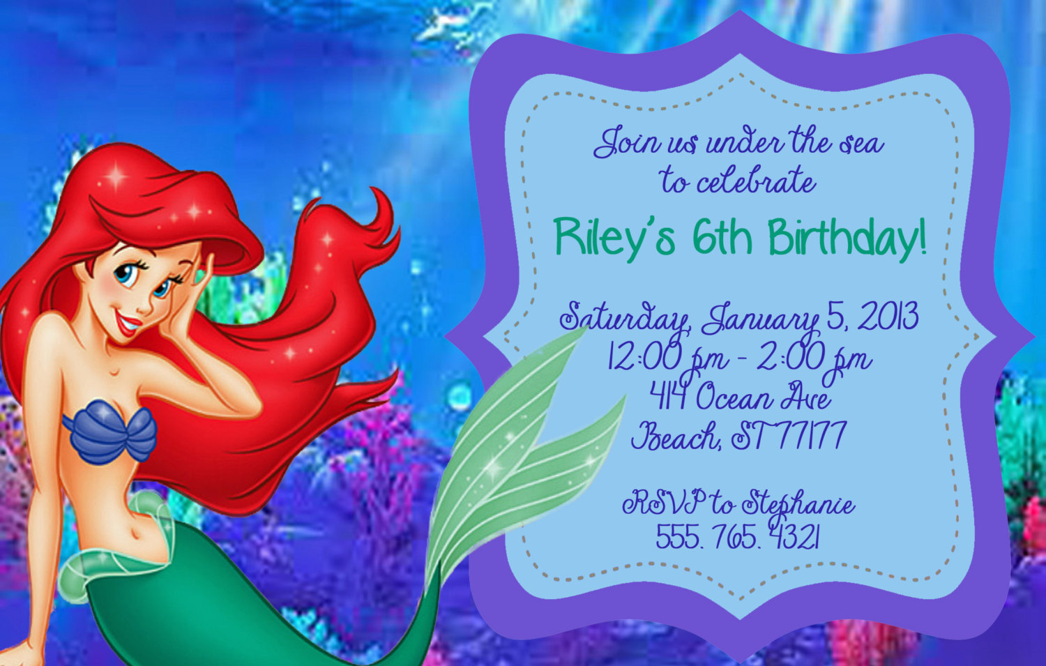 The little mermaid birthday invitations dolanpedia invitations little mermaid invitations hqcttiqk filmwisefo