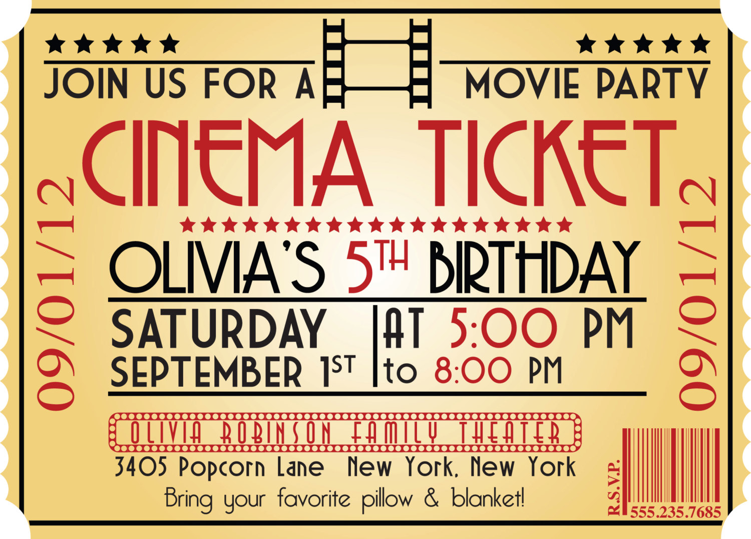 Free printable boys birthday invitations dolanpedia invitations movie night birthday party invitation movie night ticket birthday invitations filmwisefo