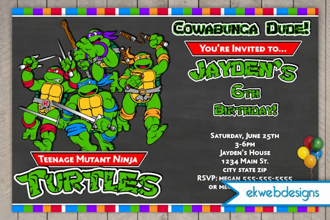Teenage Mutant Ninja Turtle Birthday Invitations DolanPedia