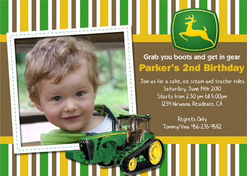 John Deere Tractor Birthday Invitations 7lss68xw