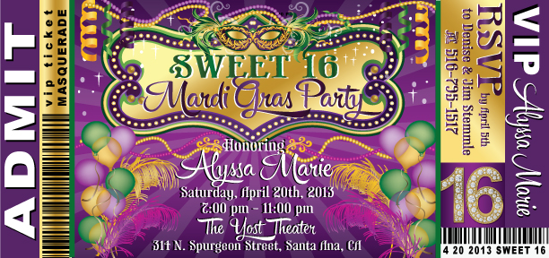 Free printable sweet 16 birthday invitations dolanpedia mardigrassweet16danceticketinvite filmwisefo Image collections