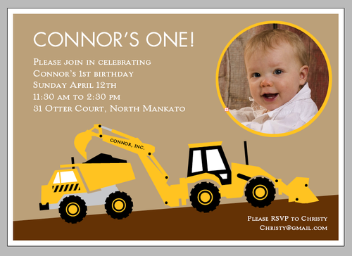 Construction First Birthday Party Invitations