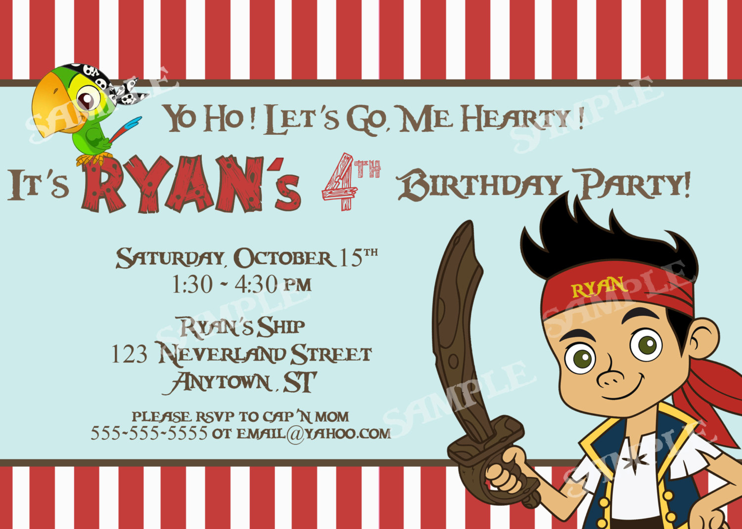 Free Jake And The Neverland Pirates Birthday Invitations ...