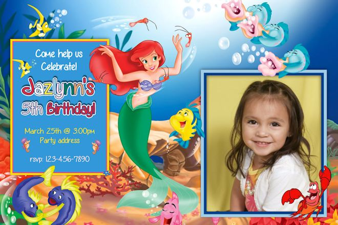 Little mermaid birthday party invitations dolanpedia invitations little mermaid birthday invitation 3 filmwisefo