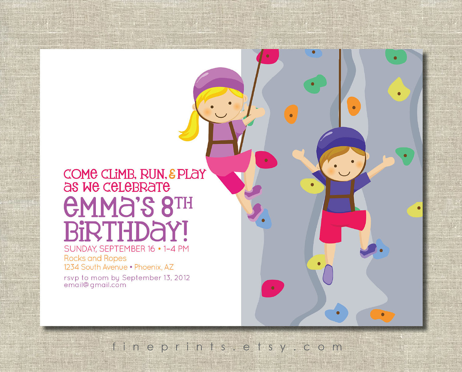 Rock Climbing Birthday Party Invitations DolanPedia Invitations