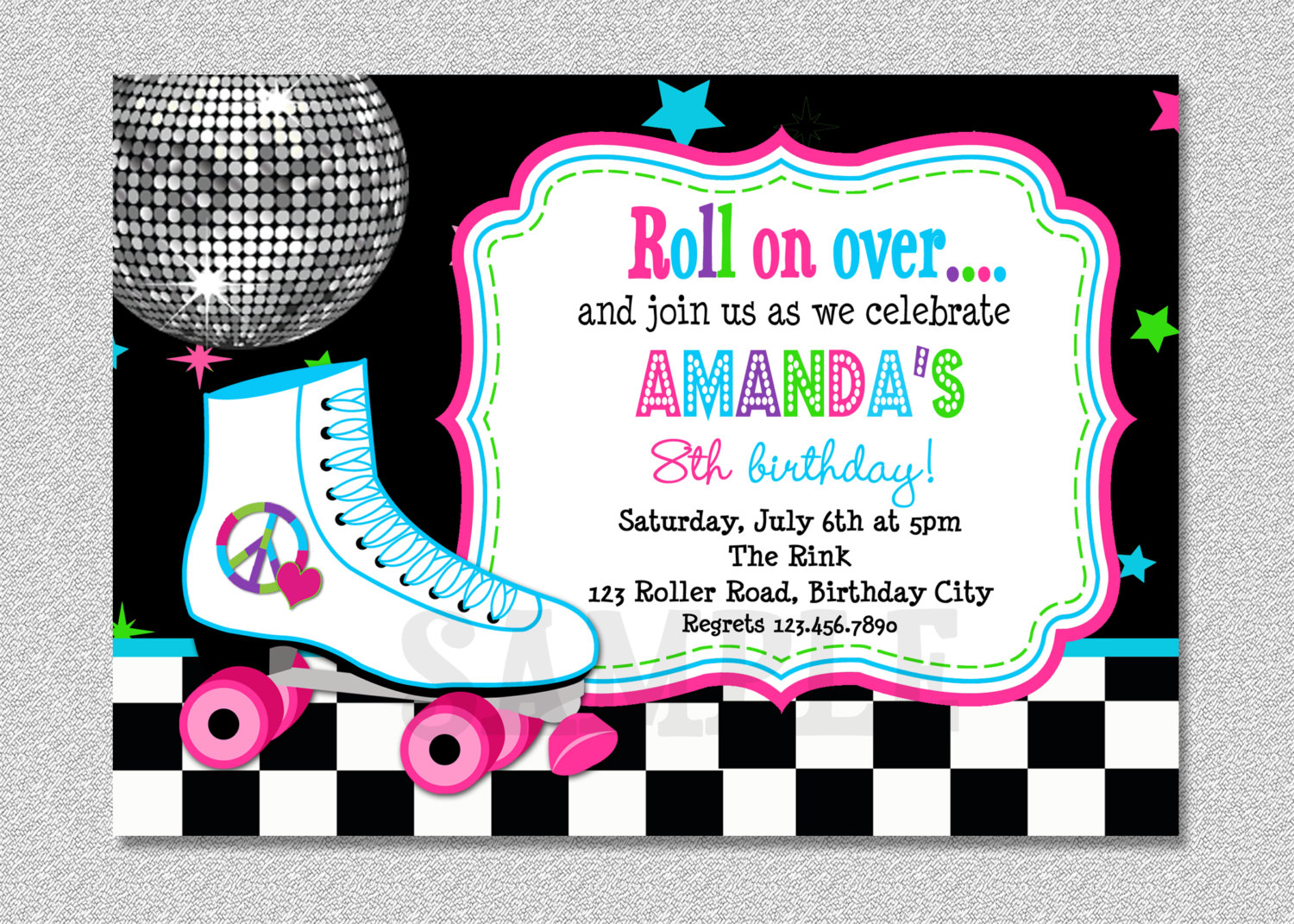 Free Printable Roller Skating Birthday Party Invitations ...
