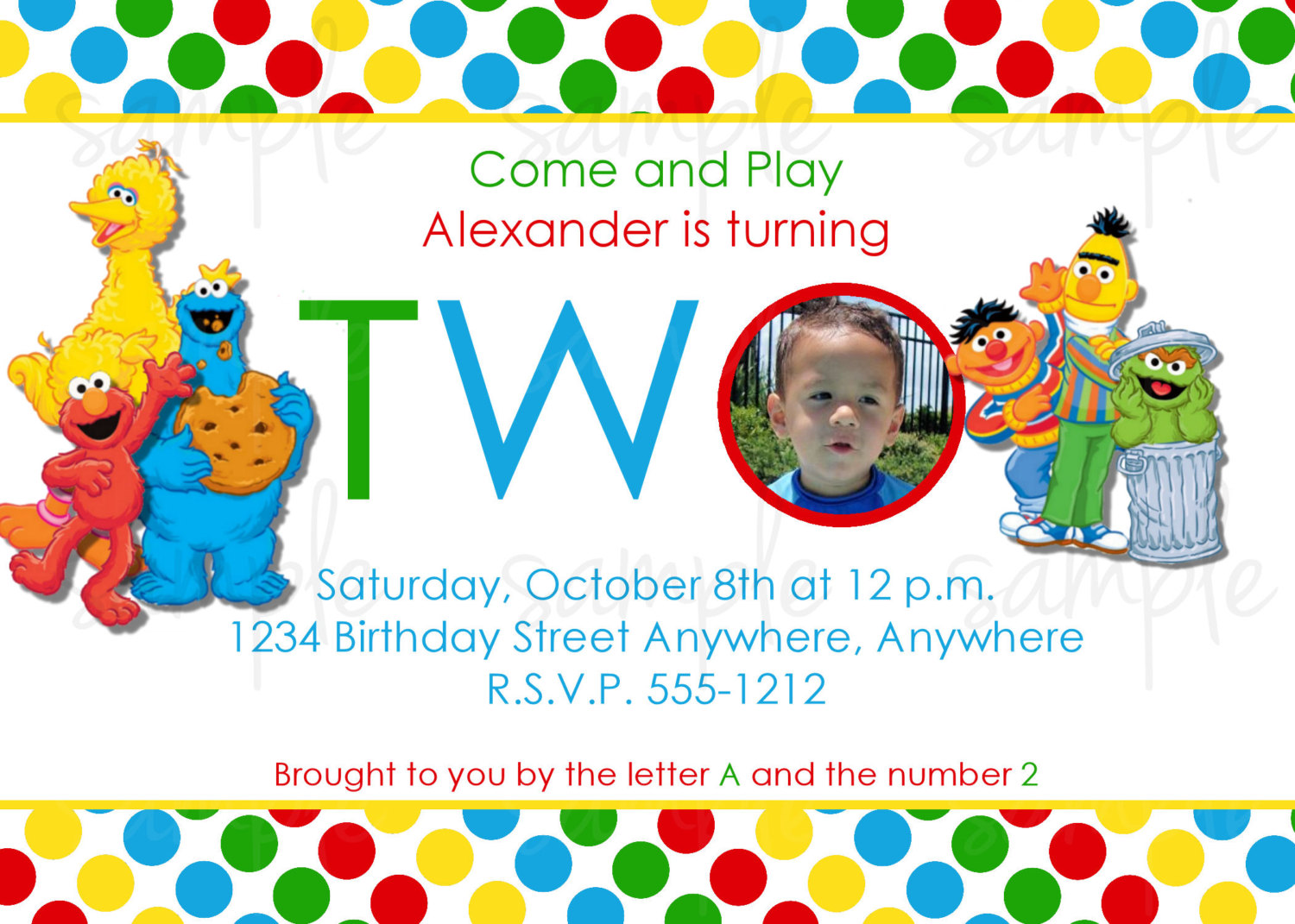 Try To Match Your Invitation Card With The Birthday Themed Sesame Street2