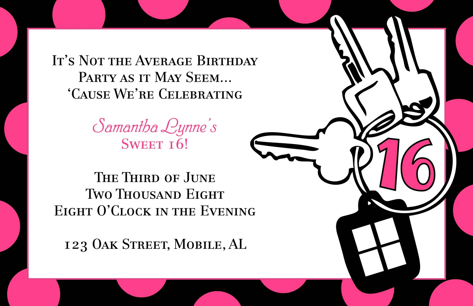 Sweet 16 Birthday Invitation Templates