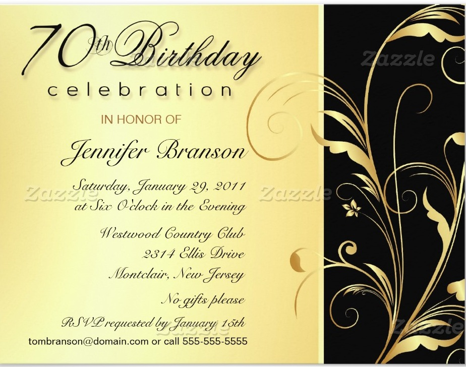 70th Birthday Party Invitation Wording | | DolanPedia Invitations ...