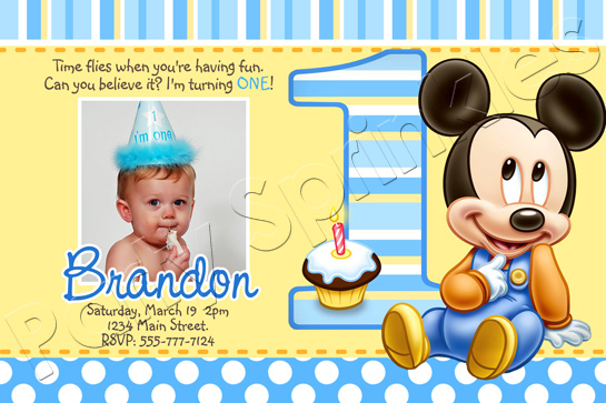 Baby mickey 1st birthday invitations dolanpedia invitations template baby mickey mouse party invitation sample stopboris