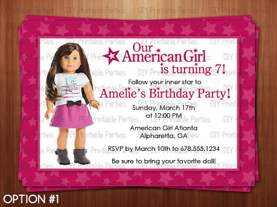 american girl doll birthday party invitations