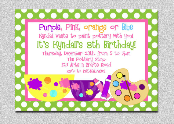 Arts And Crafts Birthday Party Invitations DolanPedia