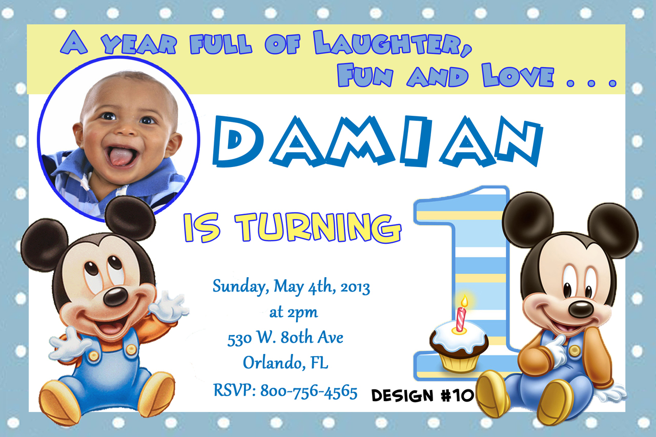 Baby Mickey 1st Birthday Invitations Dolanpedia