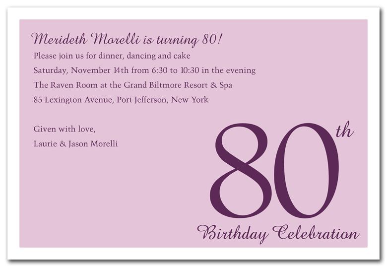 80 Year Old Birthday Invitations