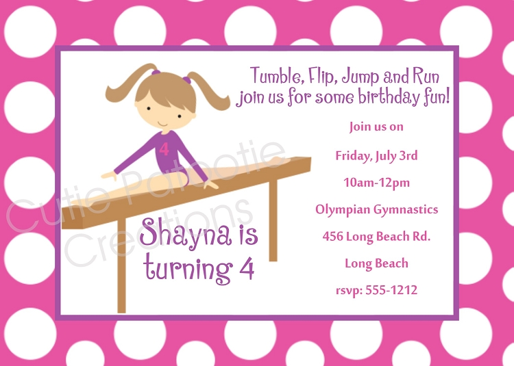 Free Printable Gymnastics Birthday Invitations