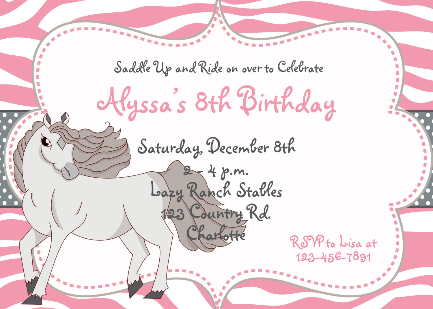 Free Printable Horse Birthday Party Invitations | | DolanPedia ...
