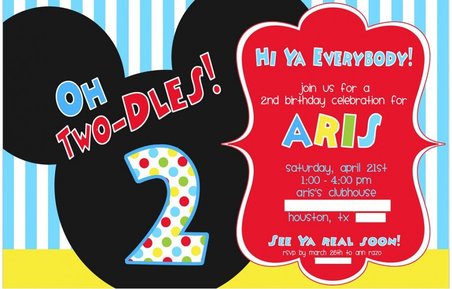 Mickey Mouse Birthday Invitation Ideas | | DolanPedia Invitations ...