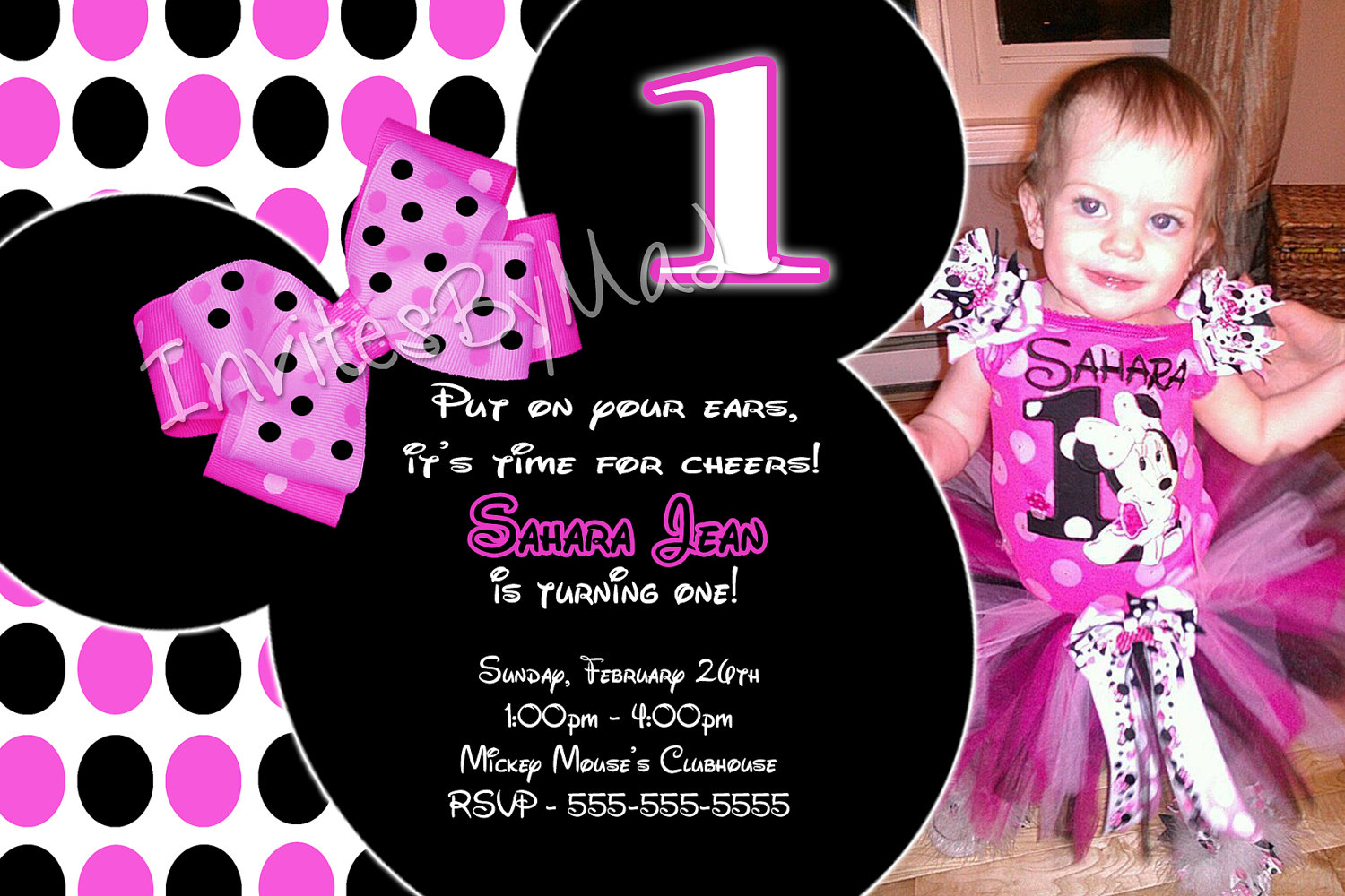 Minnie mouse birthday invitations free dolanpedia invitations minnie 1st stopboris Images