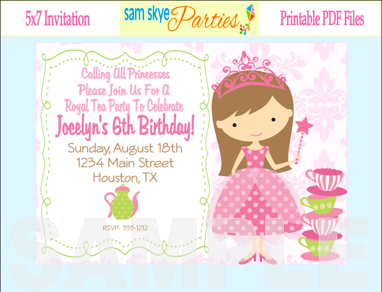 Birthday Invitations Wording For Your Kids Princess Tea2