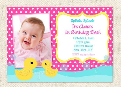Rubber Ducky 1st Birthday Invitations DolanPedia Invitations