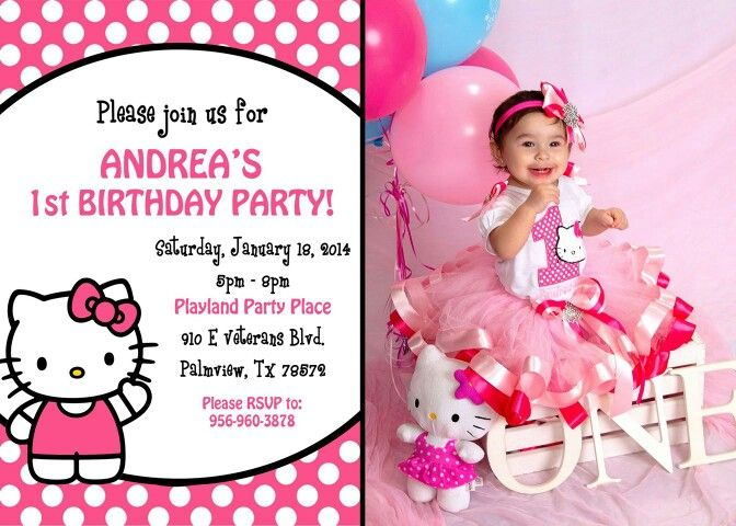 Hello kitty 1st birthday invitations dolanpedia invitations template hello kitty first solutioingenieria Images