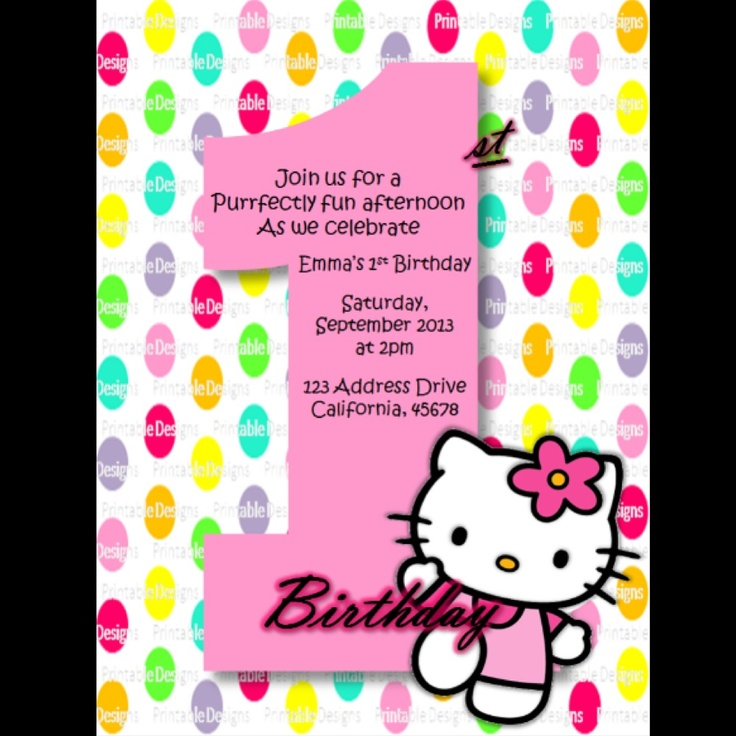 1st birthday party invitations girl dolanpedia invitations template hello kitty first1 solutioingenieria Images