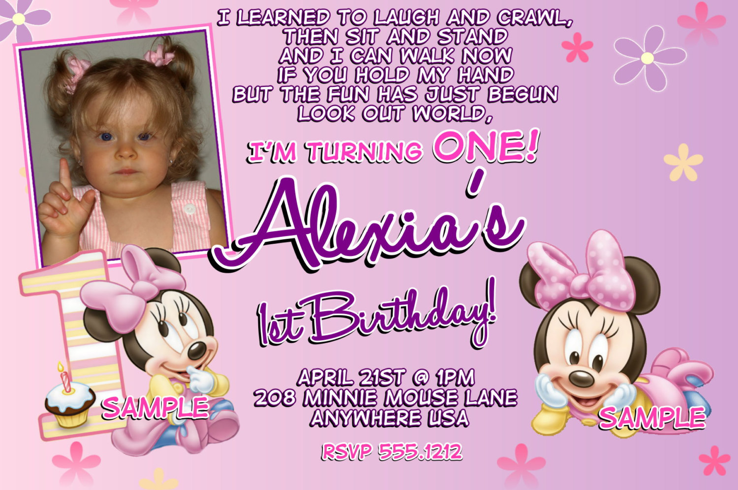 Free printable minnie mouse 1st birthday invitations dolanpedia minnie 1st3 filmwisefo