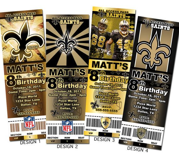 New Orleans Saints Birthday Invitations