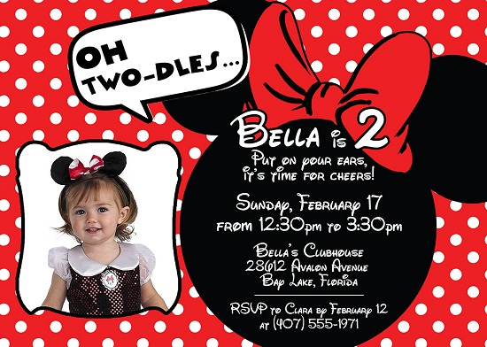 Party Red Minnie Mouse Birthday Invitations Ideas With Photo