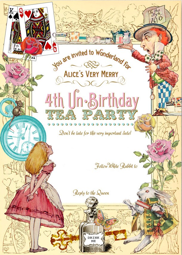 Free Alice In Wonderland 4th Birthday Invitation Template