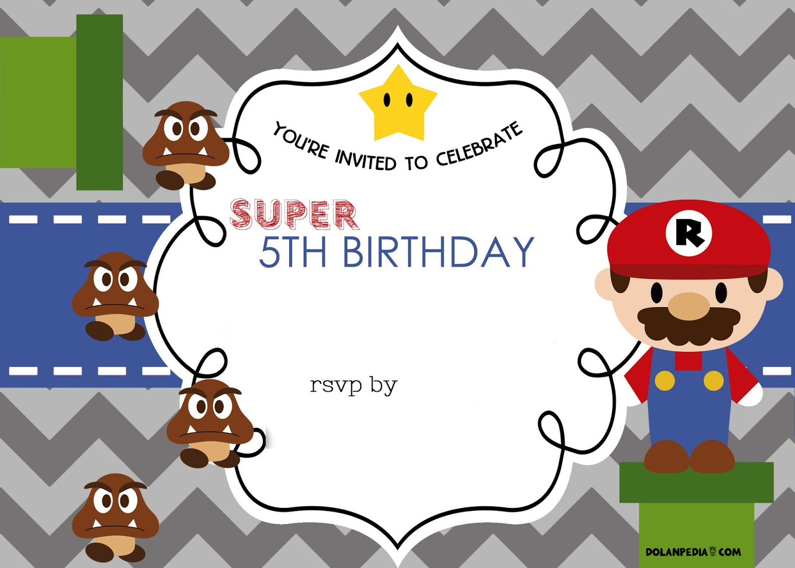 Free Mario Bros 5th Birthday Invitation Template Dolanpedia Invitations Template