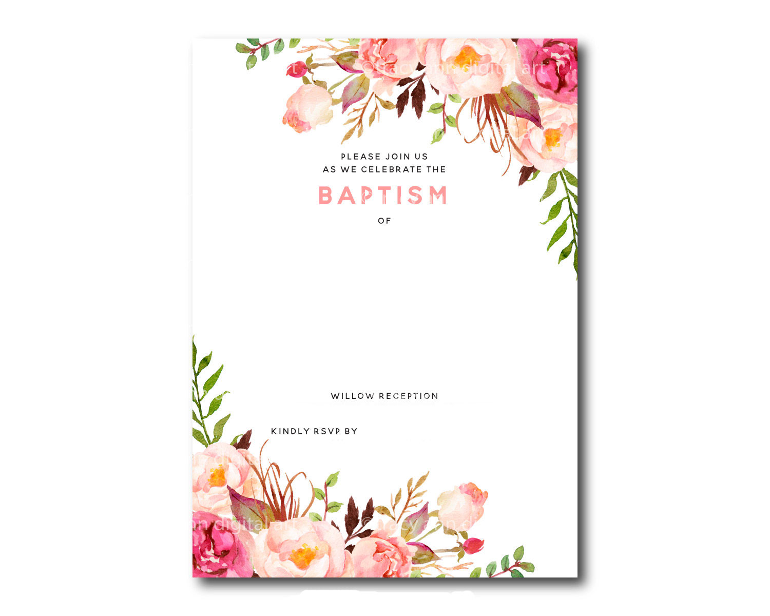 Gorgeous image within printable baptism invitations