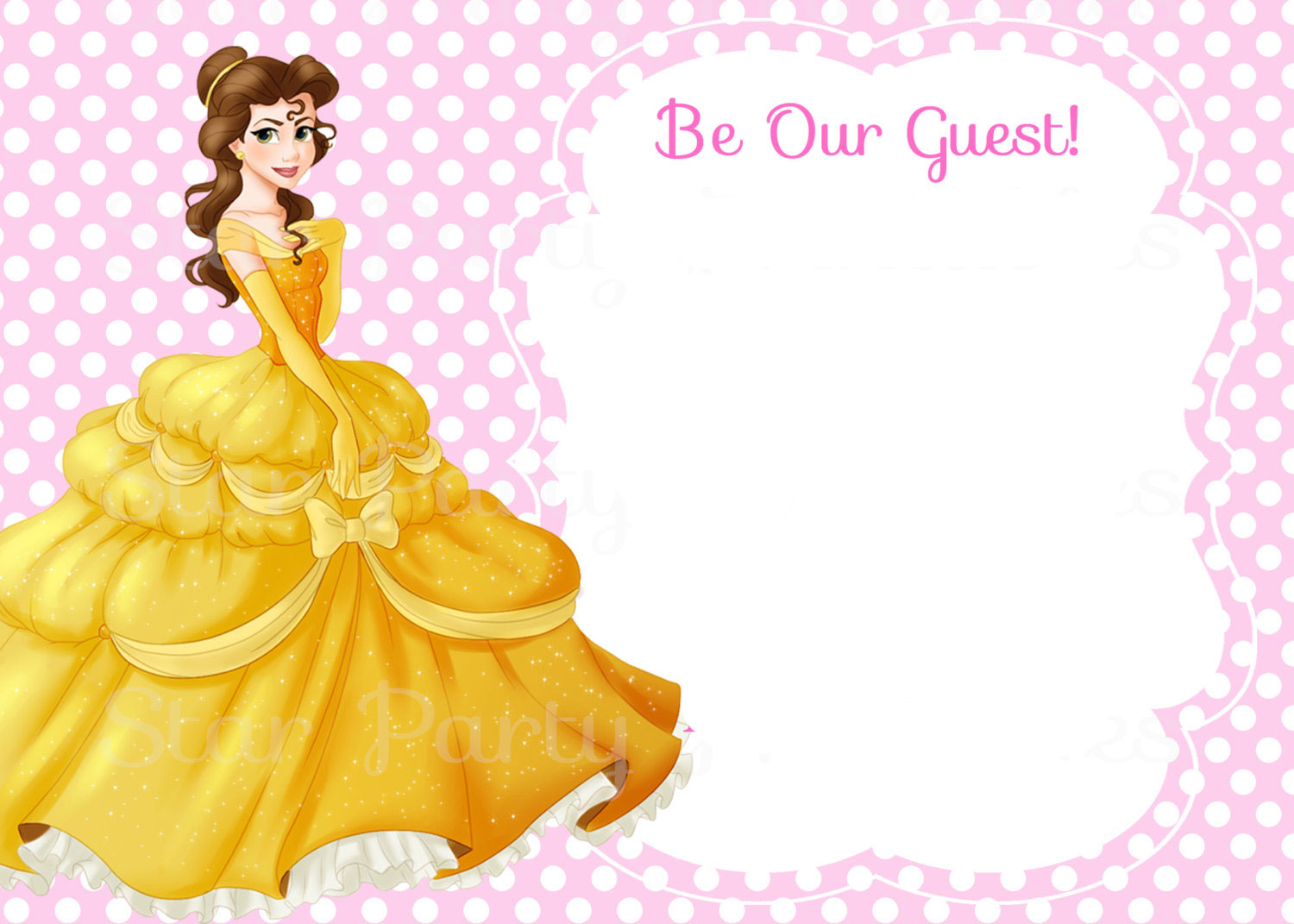 Free Printable Belle Beauty And The Beast Invitation Template