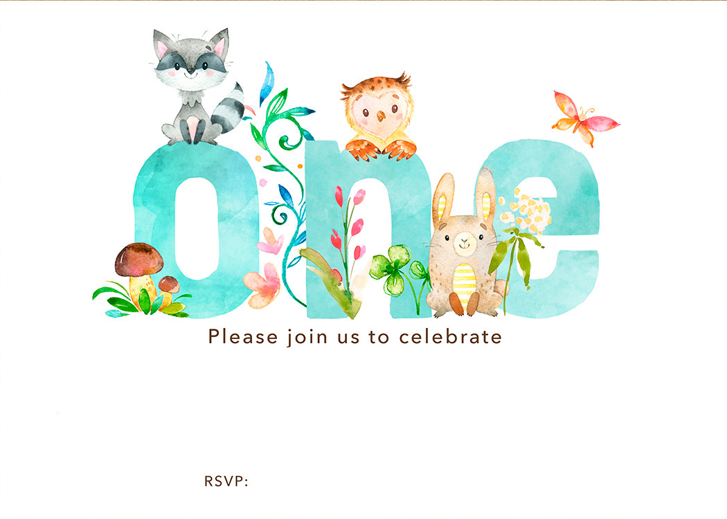 image relating to Free Printable Woodland Animal Templates called No cost Printable Woodland 1st Birthday Invitation