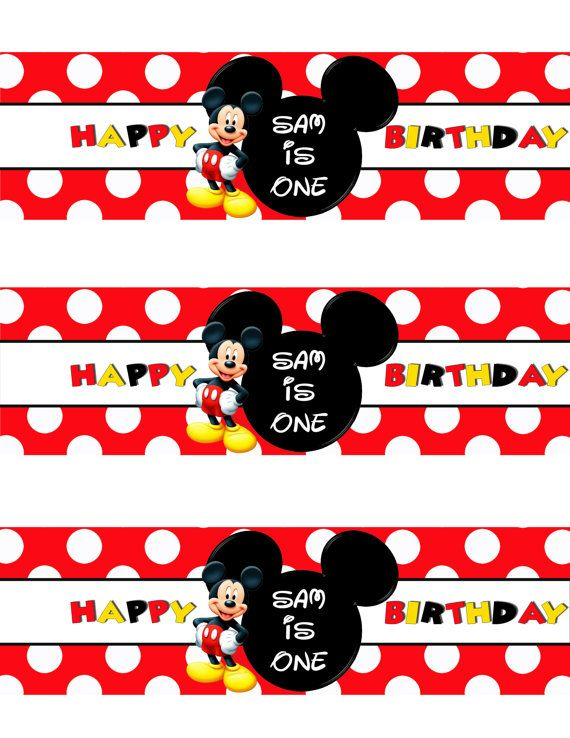 graphic relating to Free Printable Water Bottle Labels for Birthday referred to as Cost-free Printable Mickey Mouse Bottle Labels  DolanPedia