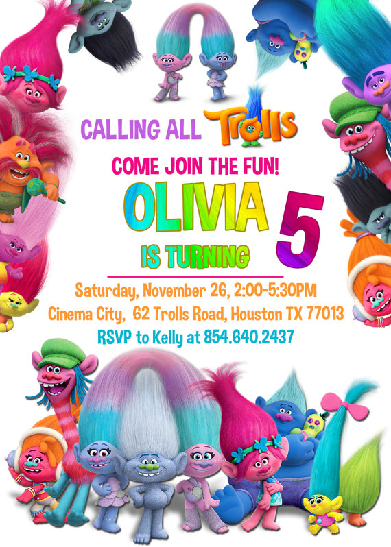 Transformative image pertaining to free printable trolls invitations