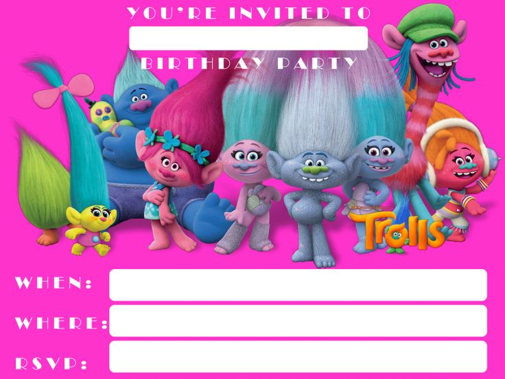 free printable trolls invitation template