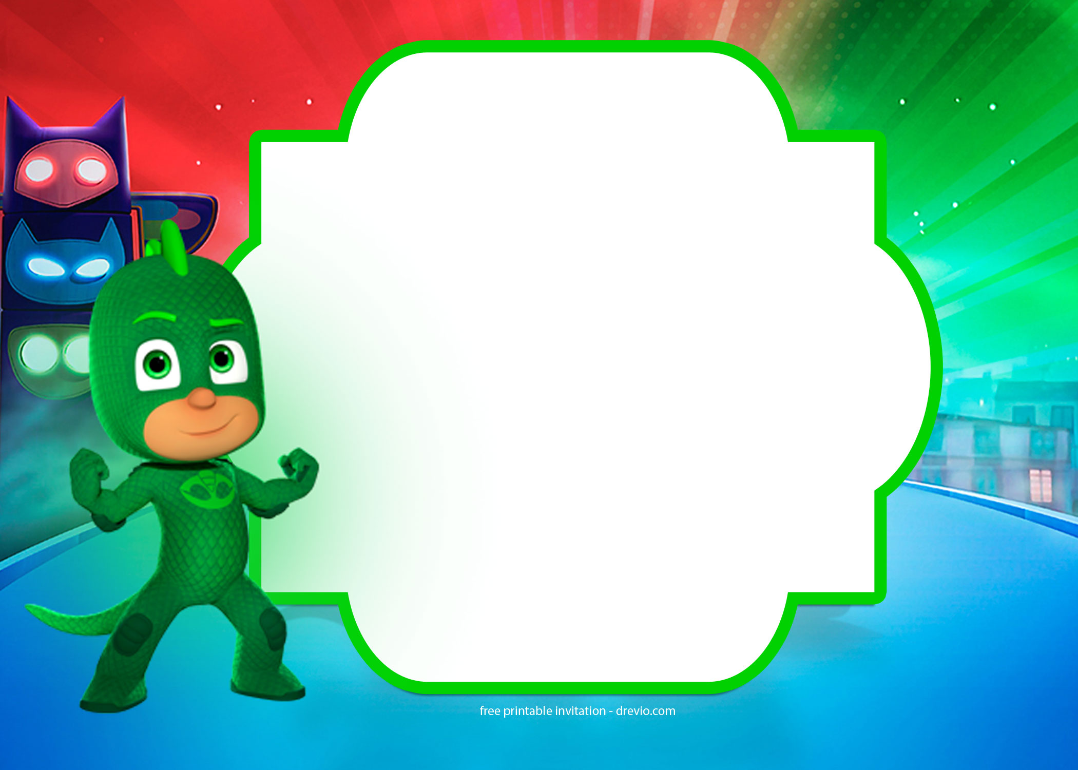 free pj masks invitation template
