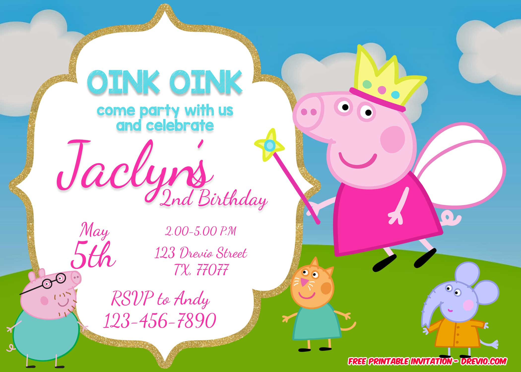 photograph about Peppa Pig Printable known as Free of charge Printable Peppa Pig Invitation Birthday Templates
